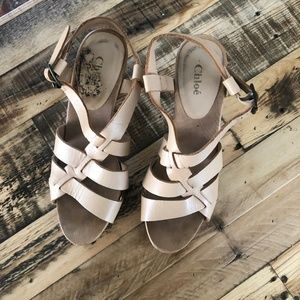 Chloe nude/camel wooden & leather sandals size 38